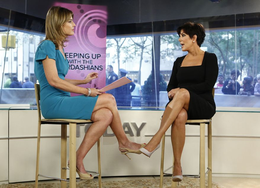 """NBC's """"Today"""" host Savannah Guthrie (left) interviews TV personality Kris Jenner of """"Keeping Up with the Kardashians"""" on the show in New York on Sept. 11, 2012.  (Associated Press/NBC)"""