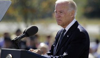 Vice President Joseph R. Biden Jr., speaks Sept. 11, 2012, during a memorial service at the Flight 93 National Memorial in Shanksville, Pa. (Associated Press)