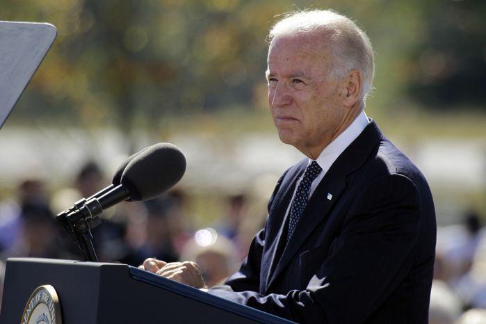 Vice President Joseph R. Biden Jr., speaks Sept. 11, 2012, during a memorial service at the Flight 93 National Memorial in Shanksville, Pa. (Associated Press)