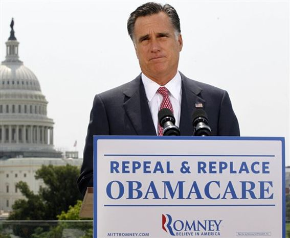 ** FILE ** In this June 28, 2012, photo Republican presidential candidate Mitt Romney speaks about the Supreme Court's health care ruling near the U.S. Capitol. (AP Photo/Charles Dharapak)