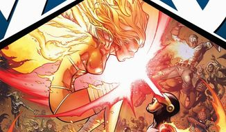 """This comic book cover released by Marvel shows the """"Avengers VS. X-Men #11"""" issue. Marvel Comics is killing off Charles Xavier, the founder of its famed X-Men, with his killer none other than Scott Summers who, as Cyclops, was one of the original five mutants whom Xavier taught to use his powers to help man- and mutant kind with mixed results. The death comes in """"Avengers Vx. X-Men"""" No. 11, which was released Wednesday, Sept. 12. (AP Photo/Marvel Comics)"""