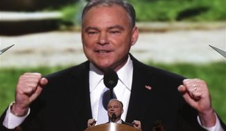 Former Virginia Gov. Tim Kaine speaks during the Democratic National Convention in Charlotte, N.C., on Tuesday, Sept. 4, 2012. (AP Photo/Charles Dharapak)