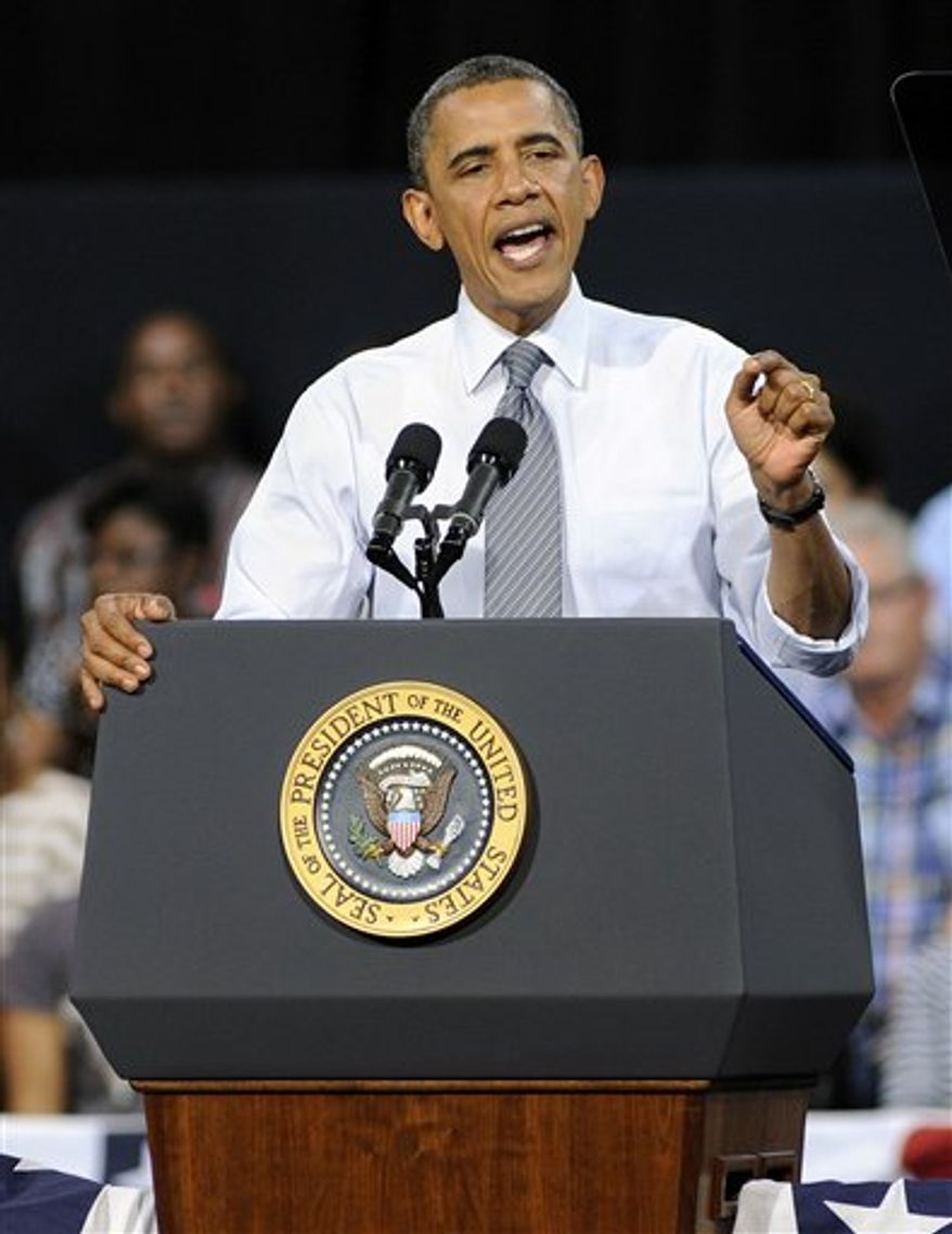 President Obama speaks during a campaign event at the Cashman Center, Wednesday, Sept. 12, 2012, in Las Vegas. (AP Photo/David Becker)