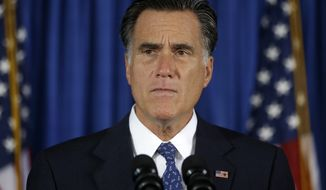 Republican presidential candidate Mitt Romney makes comments on the killing of U.S. diplomatic officials in Benghazi, Libya, while speaking in Jacksonville, Fla., on Wednesday, Sept. 12, 2012. (AP Photo/Charles Dharapak)