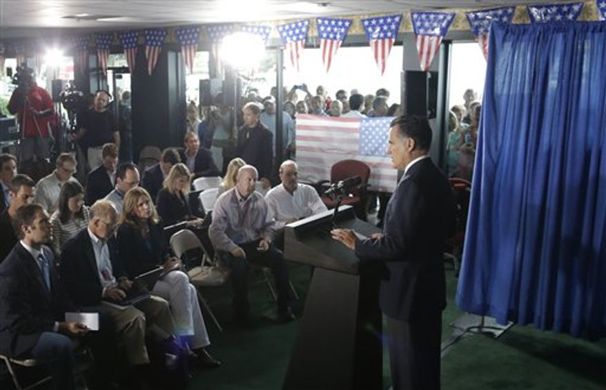 Republican presidential candidate Mitt Romney makes comments Sept. 12, 2012, while speaking in Jacksonville, Fla., on the killing of U.S. Embassy officials in Benghazi, Libya. (Associated Press)