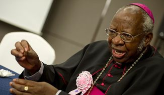 Former Zambian Archbishop Emmanuel Milingo is one of thousands gathered in Gapyeong, South Korea, for services for the late Rev. Sun Myung Moon. (Barbara L. Salisbury/The Washington Times)