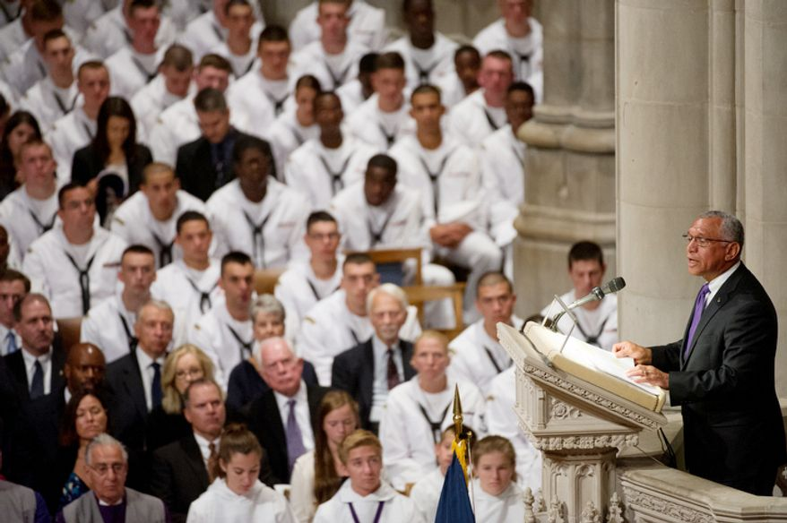 NASA Administrator Charles Bolden speaks during the memorial service for Neil Armstrong at the National Cathedral, Washington, D.C., Thursday, September 13, 2012. (Andrew Harnik/The Washington Times)