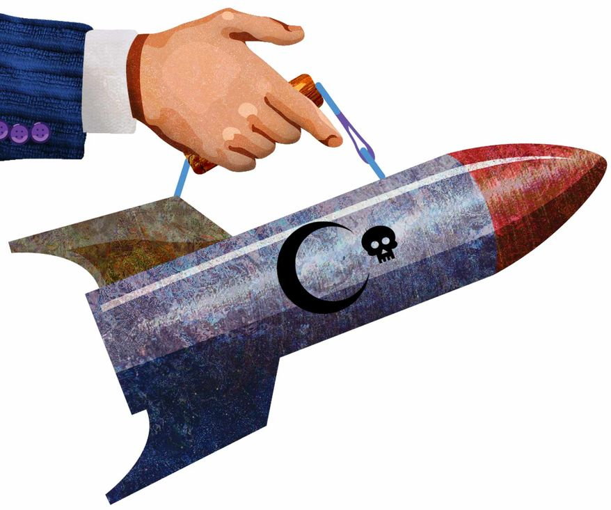 Illustration Nuclear Briefcase by Greg Groesch for The Washington Times