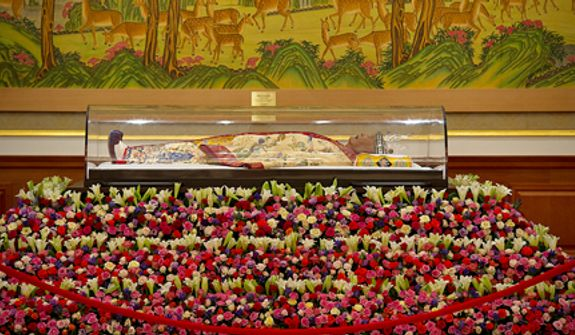 "The body of the late Rev. Sun Myung Moon lies at the palace in the Cheong Shim Peace World Center in Gapyeong-gun, Korea, on Thursday, Sept. 13, 2012. Mourners are invited to come pay tribute to the ""True Father,"" offering him prayers and paying respect to his family. His 13-day mourning period culminates on Saturday with an official funeral service. (Barbara L. Salisbury/The Washington Times)"