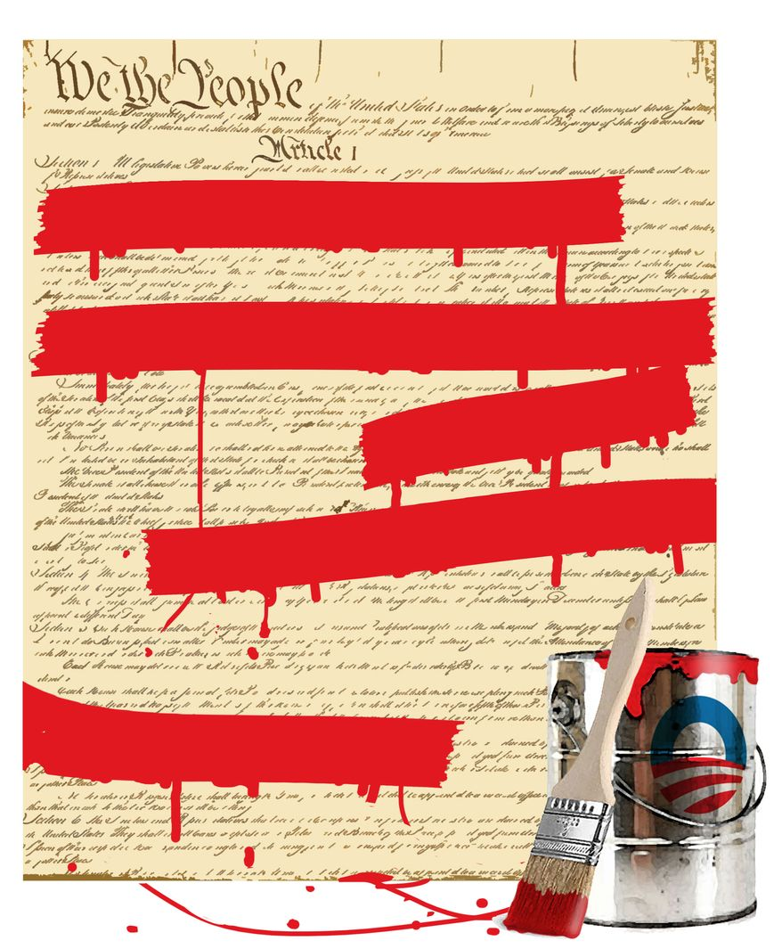 Illustration Obama's Constitution by Alexander Hunter for The Washington Times