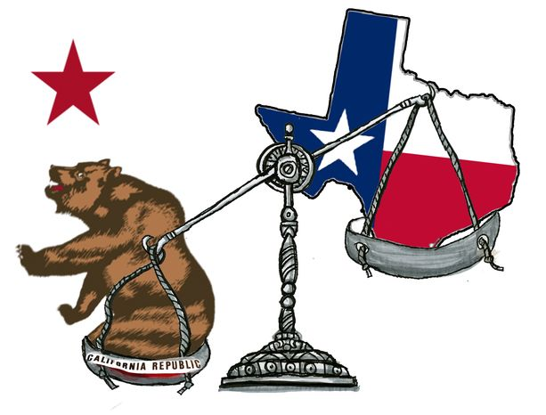 Illustration California Justice by John Camejo for The Washington Times