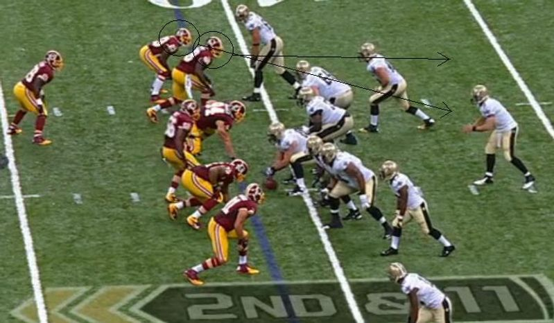 Redskins defenders DeAngelo Hall and Brian Orakpo pursue Saints quarterback Drew Brees / NFL.com / FOX Sports