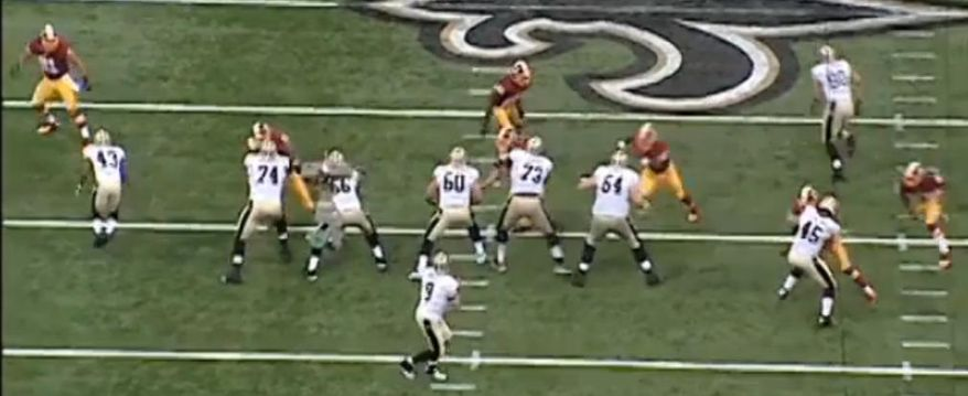 Redskins defenders DeAngelo Hall and Brian Orakpo pursue Saints quarterback Drew Brees / NFL.com / FOX Sports