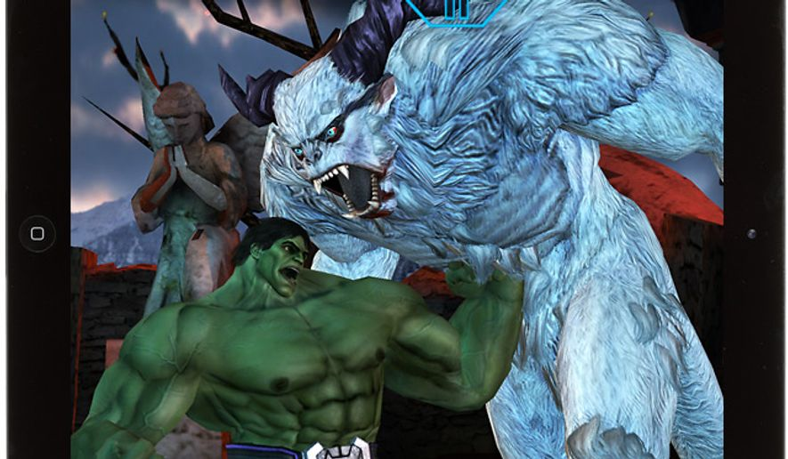 Hulk delivers some hurt to Wendigo in the iPad fighting game Avengers Initiative.