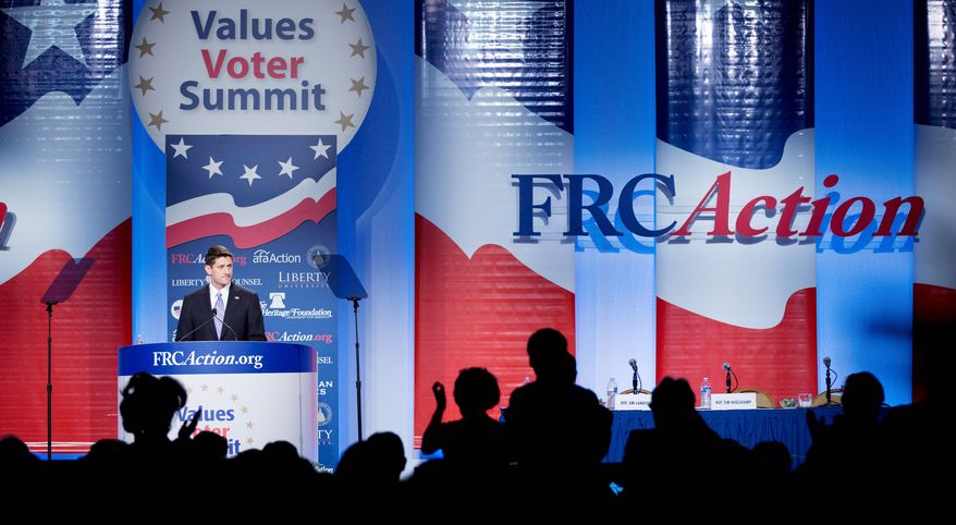 Republican vice presidential candidate Paul Ryan drew cheers when he spoke before the Values Voters Summit in Washington, D.C., on Friday. (Associated Press)