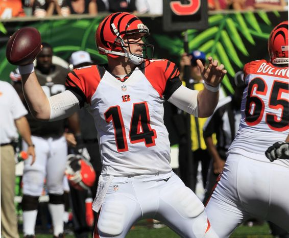 Cincinnati Bengals quarterback Andy Dalton (14) passes against the Cleveland Browns in the second half of an NFL football game on Sunday, Sept. 16, 2012, in Cincinnati. (AP Photo/David Kohl)