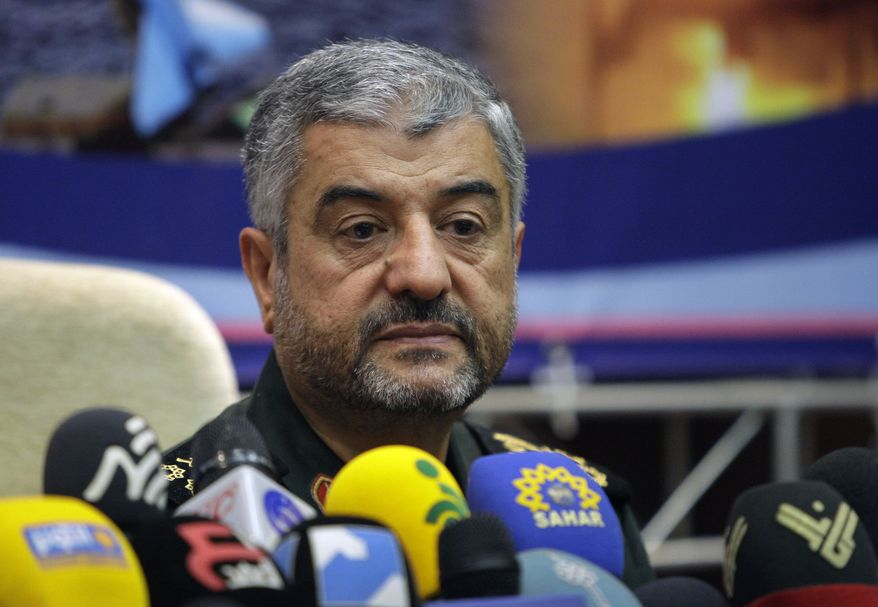 """Gen. Mohammad Ali Jafari, commander of Iran's Revolutionary Guard, gives a press conference in Tehran on Sunday, Sept. 16, 2012. He warned that """"nothing will remain"""" of Israel if it takes military action against Iran over its controversial nuclear program. (AP Photo/Vahid Salemi)"""