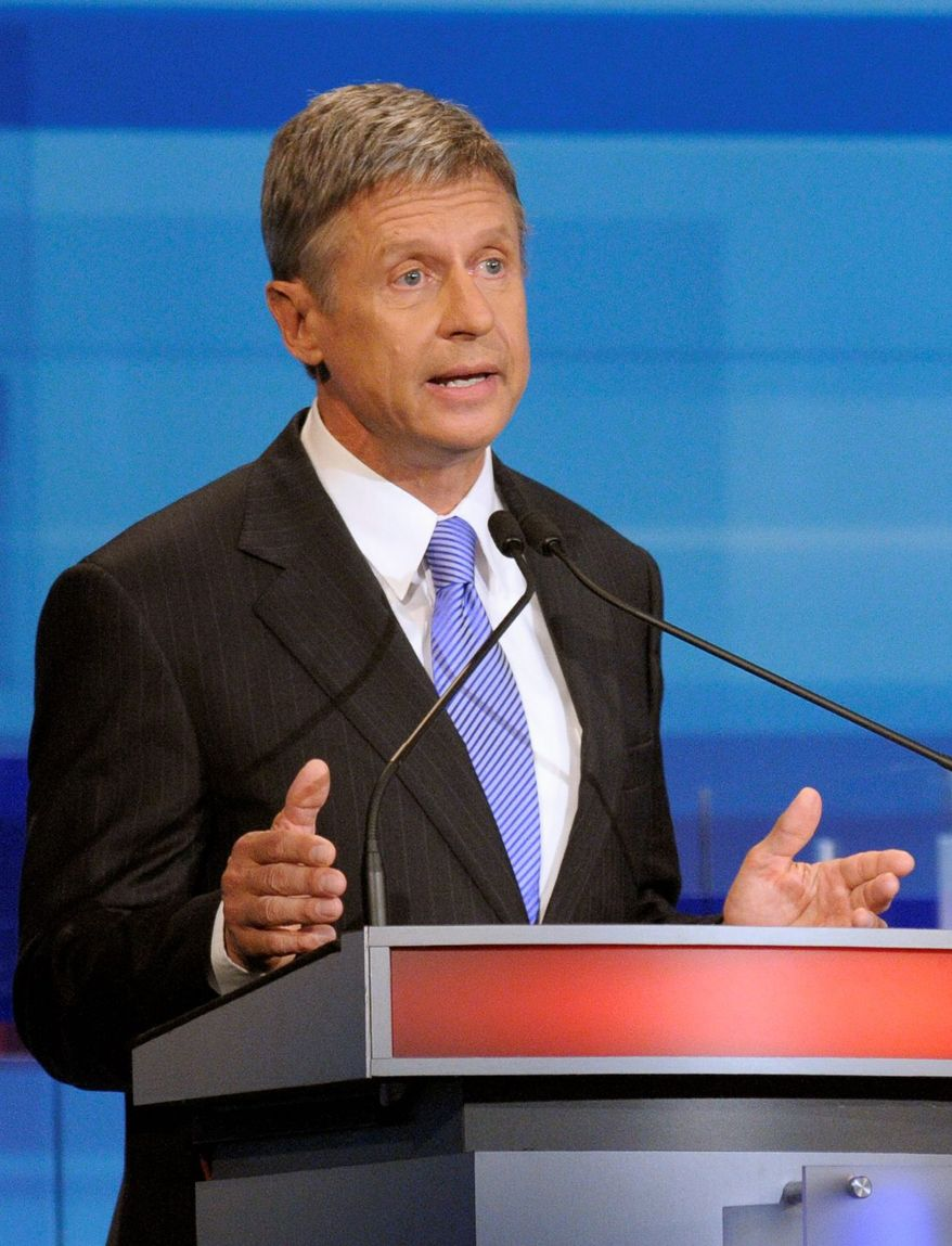 Libertarian presidential candidate Gary Johnson will be in New York City the same day as President Obama but the chances of their paths crossing in Manhattan are probably nil. (Associated Press)