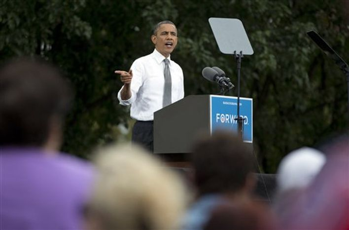 President Obama speaks at a campaign event at Schiller Park, Monday, Sept. 17, 2012, in Columbus, Ohio. (AP Photo/Carolyn Kaster)