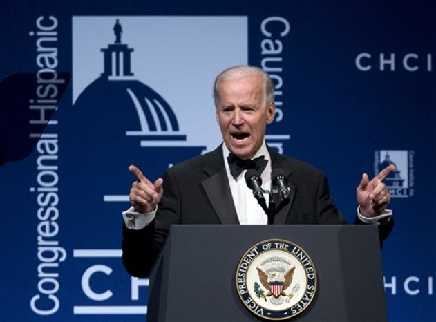 Vice President Joe Biden speaks at the Congressional Hispanic Caucus Institute's 35th anniversary awards gala in Washington, Thursday, Sept. 13, 2012. (AP Photo/Manuel Balce Ceneta)