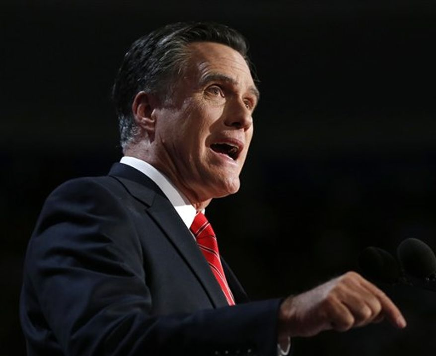 **FILE** Republican presidential candidate Mitt Romney speaks Aug. 30, 2012, at the Republican National Convention in Tampa, Fla. (Associatd Press)