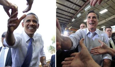**FILE** In this photo combination, President Obama (left) reaches out to shake hands Aug. 21, 2012, after speaking at a campaign event at Capital University in Columbus, Ohio, and Republican presidential candidate Mitt Romney shakes hands with supporters Feb. 17, 2012, after finishing his speech during a rally at Guerdon Enterprises in Boise, Idaho. (Associated Press)