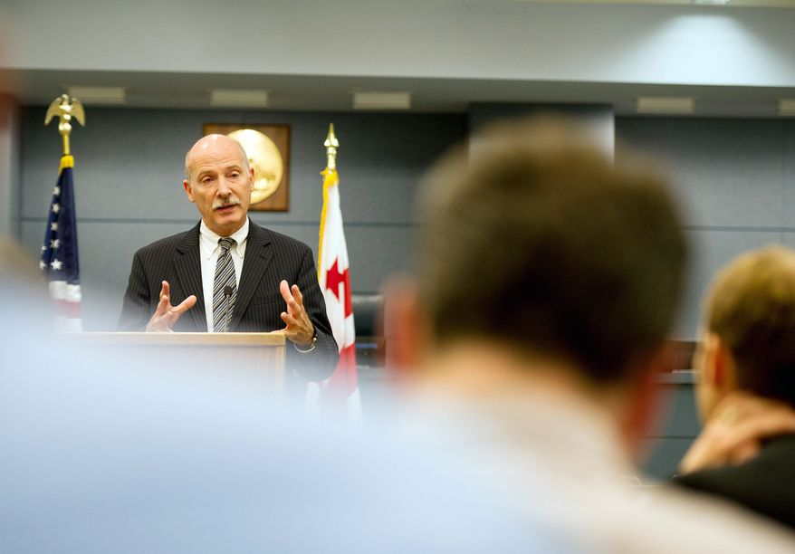 D.C. Council Chairman Phil Mendelson holds a media briefing to discuss topics which may come up during a legislative meeting to be held on Wednesday, Washington, D.C., Tuesday, September 18, 2012. (Andrew Harnik/The Washington Times)