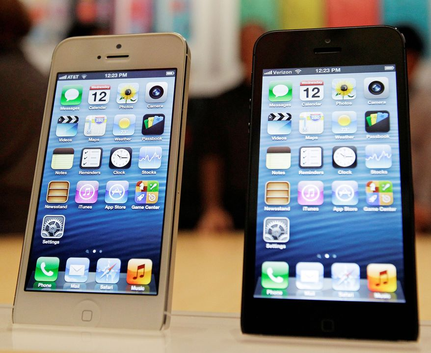 ** FILE ** This Oct. 18, 2012, file photo, shows the iPhone5. (Associated Press)