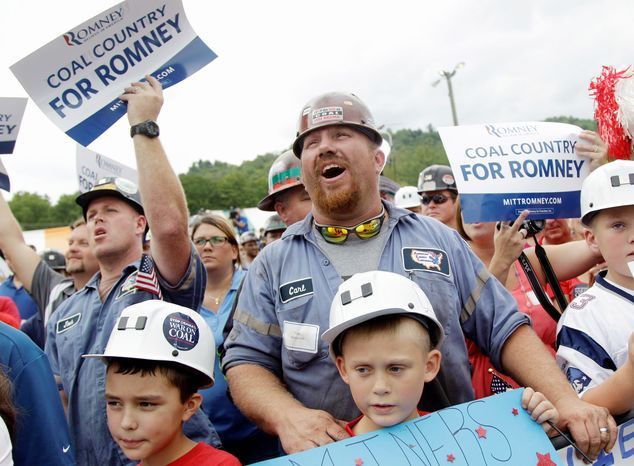 A coal miner cheers Mitt Romney, a few weeks before he officially became the GOP presidential nominee, at a campaign stop in Beallsville, Ohio. The miners fear what Obama administration policies will do to their livelihoods as well as their families' way of life in Appalachia. (Associated Press)