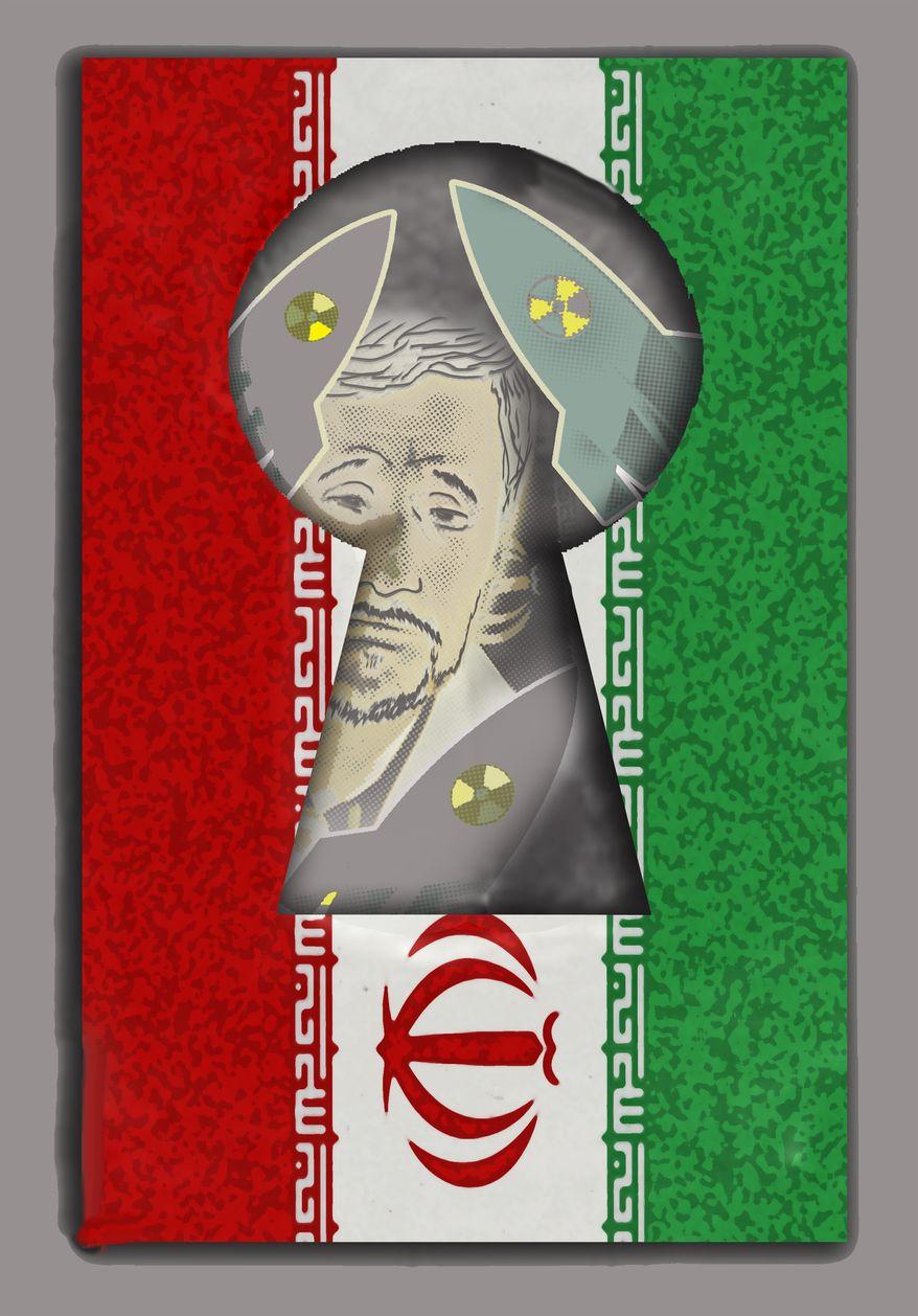 Illustration Iran Keyhole by John Camejo for The Washington Times