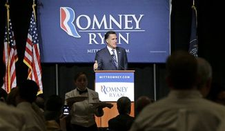 Lunch is served as Republican presidential candidate and former Massachusetts Gov. Mitt Romney speaks at a campaign fundraising event at The Grand America in Salt Lake City, Utah, Tuesday, Sept. 18, 2012. (AP Photo/Charles Dharapak)