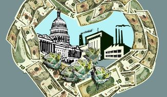 Illustration Crony Capitalism by John Camejo for The Washington Times