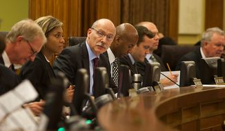 D.C. City Council Chairman, Phil Mendelson, called for the opening of the 42nd legislative meeting of the DC City Council period 19 after summer recess. Wednesday, Sept. 19, 2012, in Washington, DC. (Craig Bisacre/The Washington Times)