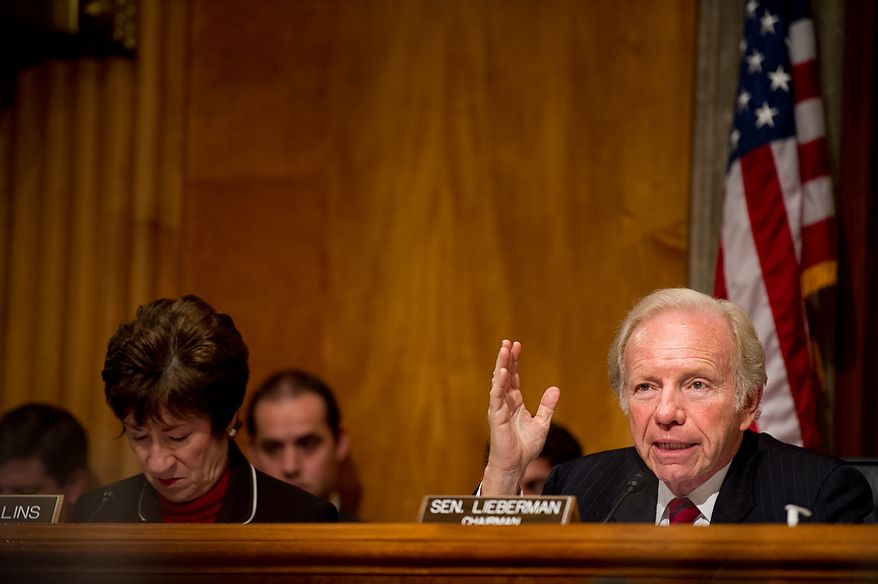 Sen. Joseph I. Lieberman speaks as Homeland Security Secretary Janet A. Napolitano, FBI Associate Deputy Director Kevin Perkins and National Counterterrorism Center Director Matthew G. Olsen testify on homeland threats and agency responses in front of the Senate Homeland Security and Governmental Affairs Committee on Capitol Hill in Washington on Wednesday, Sept. 19, 2012. (Andrew Harnik/The Washington Times)