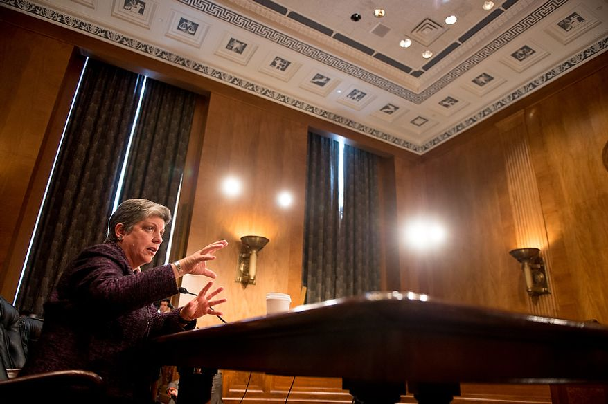 Homeland Security Secretary Janet A. Napolitano testifies on homeland threats and agency responses in front of the Senate Homeland Security and Governmental Affairs Committee on Capitol Hill in Washington on Wednesday, Sept. 19, 2012. (Andrew Harnik/The Washington Times)
