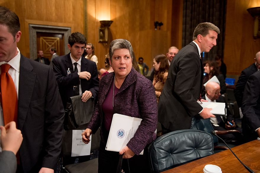 Homeland Security Secretary Janet A. Napolitano departs following testimony on homeland threats and agency responses in front of the Homeland Security and Governmental Affairs Committee on Capitol Hill in Washington on Wednesday, Sept. 19, 2012. (Andrew Harnik/The Washington Times)