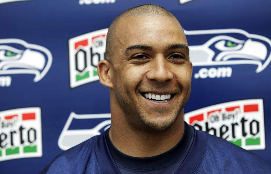 FILE - This May 24, 2012 file photo shows Seattle Seahawks tight end Kellen Winslow talking to reporters in Renton, Wash. The New England Patriots have signed Winslow. The announcement Wednesday, Sept. 19, 2012, came three days after tight end Aaron Hernandez was sidelined with a right ankle injury. The Patriots have not said how many games they expect him to miss. Winslow was released by the Seattle Seahawks on Sept. 1.  (AP Photo/Ted S. Warren, File)