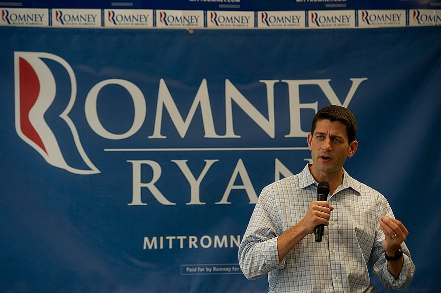 GOP vice presidential candidate Paul Ryan talks to supporters from several Northern Virginia campaign offices at the Romney/Ryan campaign headquarters in Arlington, Va. on Wednesday, Sept. 19, 2012. He thanked them for their hard work, noting that they have made more than 100,000 calls already on behalf of the Romney/Ryan campaign. (Barbara L. Salisbury/The Washington Times)