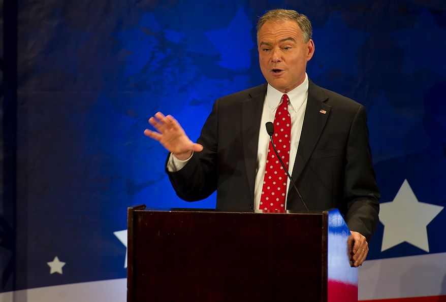 Tim Kaine, former Virginia governor, answers questions during the 2012 U.S. Senate Debate with opponent George Allen (not pictured) at the Capital One Conference Center in McLean, Va. on Thursday, Sept. 20, 2012. (Barbara L. Salisbury/The Washington Times)