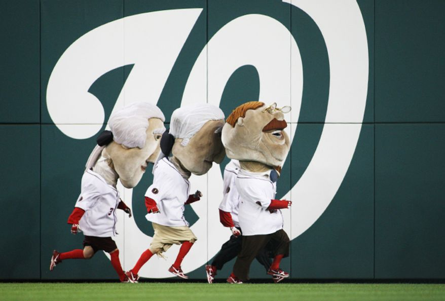Washington Nationals presidents race at the top of the third inning against Los Angeles Dodgers at Nationals Park. (Craig Bisacre/The Washington Times)
