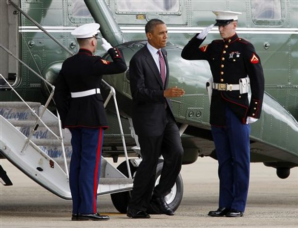 ** FILE ** President Barack Obama steps off Marine One upon arrival at Andrews Air Force Base, Md., Wednesday, Sept. 5, 2012, before boarding Air Force One en route to Charlotte, N.C., for the Democratic National Convention. ( AP Photo/Jose Luis Magana)