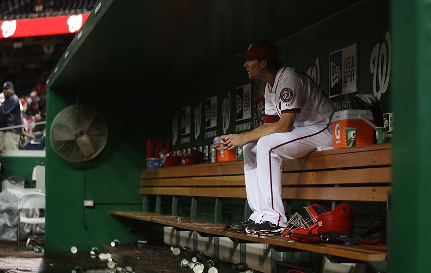 Washington Nationals relief pitcher Tyler Clippard (36) reacts in the dugout after the game, Wednesday, Sept. 19, 2012, in Washington, DC. Washington Nationals lose to the Los Angeles Dodgers 6 to 7 in the second game of the doubleheader at National Park (Craig Bisacre/The Washington Times)
