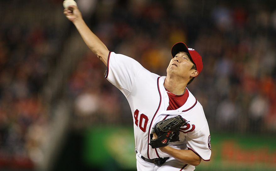 Washington Nationals pitcher Chien-Ming Wang (40) during the fifth inning, Wednesday, Sept. 19, 2012, in Washington, DC. Washington Nationals lose to the Los Angeles Dodgers 6 to 7 in the second game of the doubleheader at National Park (Craig Bisacre/The Washington Times)