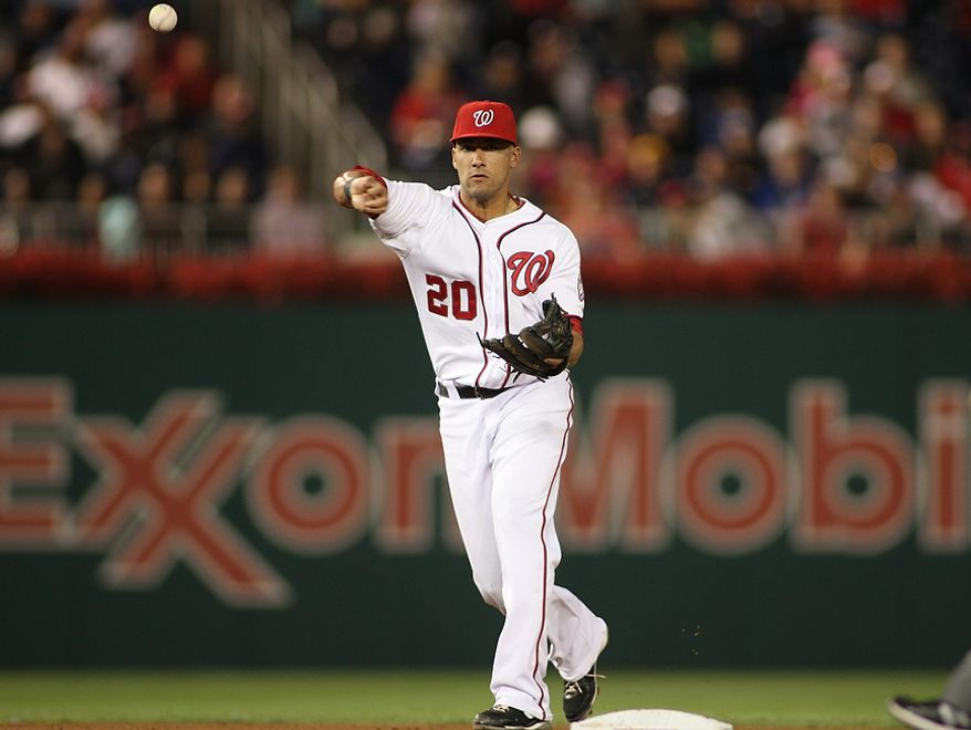 Washington Nationals shortstop Ian Desmond (20) throws to first for the out, Wednesday, Sept. 19, 2012, in Washington, DC. Washington Nationals lose to the Los Angeles Dodgers 6 to 7 in the second game of the doubleheader at National Park (Craig Bisacre/The Washington Times)
