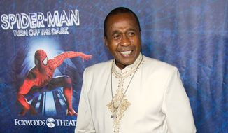 """Actor, singer and dancer Ben Vereen arrives at the opening-night performance of the Broadway musical """"Spider-Man: Turn Off the Dark"""" in New York in June 2011. (AP Photo/Charles Sykes)"""