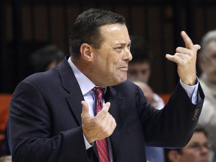 FILE - In this Jan. 4, 2012, file photo, Texas Tech coach Billy Gillispie gestures during the second an NCAA college basketball game against Oklahoma State in Stillwater, Okla. Gillispie has resigned, due to health reasons. The school announced the move on Thursday, Sept. 20, 2012. Gillispie's departure comes less than a month after Texas Tech said it was looking into allegations of player mistreatment by the veteran coach and that it had reported practice-time violations to the NCAA. (AP Photo/Sue Ogrocki, File)