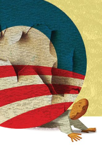 Illustration Obama Crushes by Alexander Hunter for The Washington Times