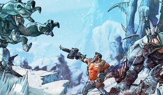 Salvador the Gunzerker fights off Bullymongs in the video game Borderlands 2.