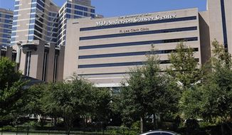 "** FILE ** This Thursday, Sept. 20, 2012, photo shows buildings of The University of Texas MD Anderson Cancer Center in Houston. The nation's largest cancer center is launching a massive ""moonshot"" effort against eight specific forms of the disease, similar to the all-out push for space exploration 50 years ago. (AP Photo/Pat Sullivan)"