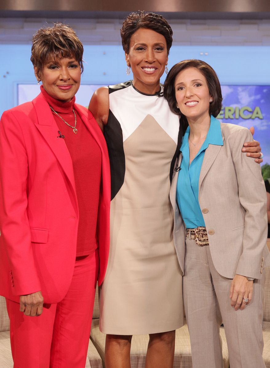 """**FILE** """"Good Morning America"""" co-host Robin Roberts (center) poses with her sister Sally-Ann Roberts (left) and Dr. Gail Roboz on the show on Thursday, Aug. 30, 2012 in New York. (Associated Press/ABC)"""